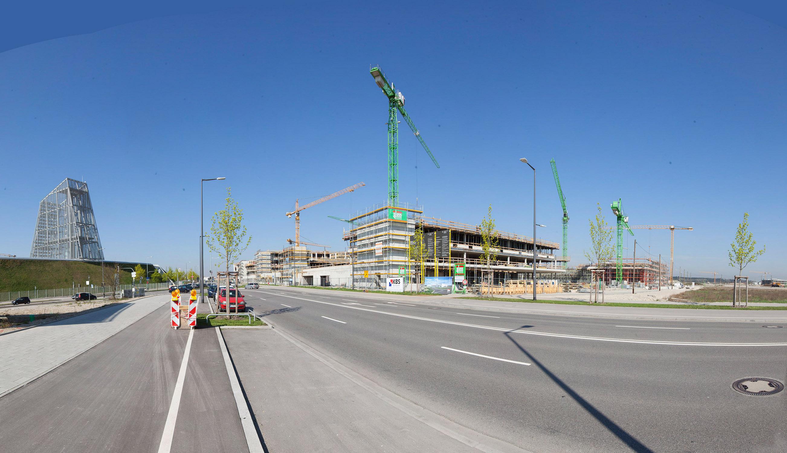 Baustelle im April 2018, Ansicht von der Bodenseestraße, Foto: Christoph Mukherjee, München