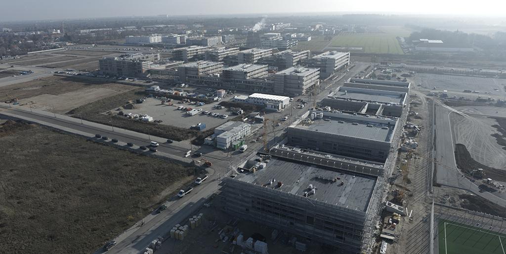 Luftaufnahme Baustelle Bildungscampus, Foto: Wenzel + Wenzel